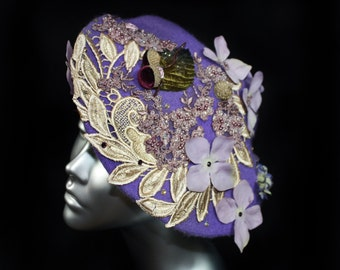Couture Hat, Acorn Beret Hat, Violet Hat with Swarovski® crystals, Flower Hair Accessories, Ladies Hats, Lace Headpiece