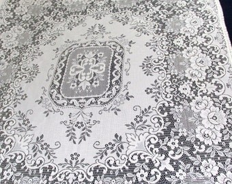 "Vintage Ivory Lace Tablecloth  65"" x 54"""