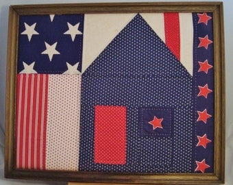 """Vintage Quilted """"Texas Courthouse"""" in Old Wooden Picture Frame"""