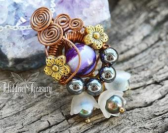 Purple Flower Garden Necklace handmade wire wrapped gemstone fresh water pearl elf forest woodland nature jewelry