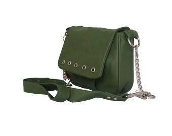 Green Leather Bag, Fashion Everyday Cross-body, Trendy Handbag, Sury