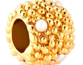 Spacer Bead with Tiny Pearls For European Style Charm Bracelet -Gold Plated
