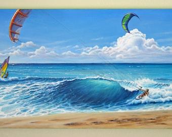 Original 24x48 California Surfer Seascape Painting on Canvas by J. Mandrick