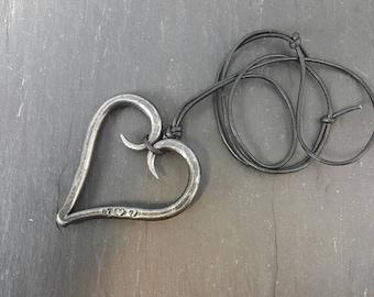 I Love U Heart Necklace - Hand forged Necklace - Valentine's - Wedding - Anniversary - Birthday
