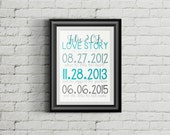 Love Story Sign, Printable - Important Date, Wedding Gift, Anniversary Gift, Special Dates - Digital Download