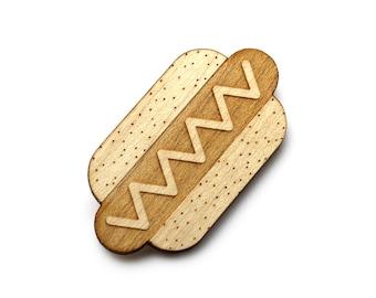 Hotdog brooch  - Hotdog  jewelry  - maple wooden jewellery - wood and metal pin - lasercut minimalist jewelry