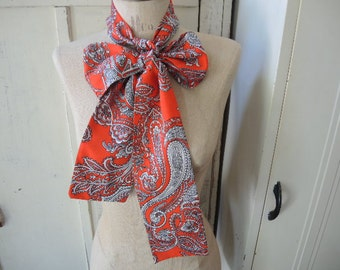 Vintage 1960s scarf belt headband paisley red and white polyester  4 x 63 inches