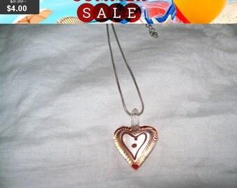 SALE 60% Off art glass necklace , Art glass pendant necklace, art glass heart pendant