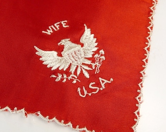 Vintage Sweetheart WWII Army Wife Hankie Red Satin