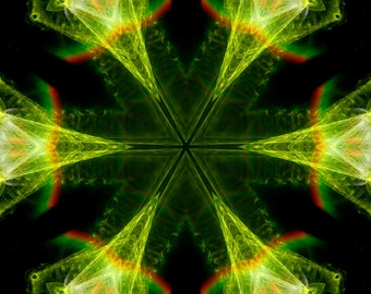 Neon Green Kaleidoscope, Photography, Digital Art, Abstract Art