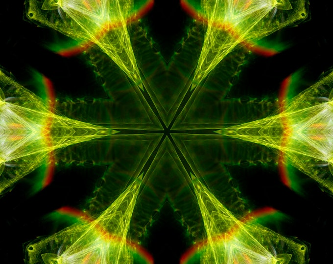 Neon Green Kaleidoscope, Photography, Digital Art, Abstract Art