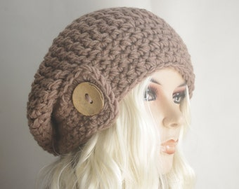 Womens hat - chunky knit Slouchy MILK BROWN Beanie Slouch Hat Fall Winter Accessories Beanie Autumn Christmas Fashion