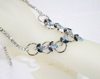 Vintage Rhinestone Bee Necklace Unusual Unique Rhinestone Necklace Blue Bee Necklace