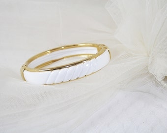 Vintage White Clamper Bracelet 1980s New Old Stock Perfect with Anything Great for Any Occasion