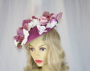 Mauve Orchid Kentucky Derby Hat Flower Fascinator Hat Orchid Flower Hat Kentucky Derby Fascinator Hat Butterly Flower Wedding Hat Church Hat
