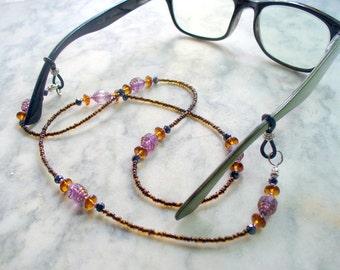 Boho Beaded Eyeglass Holder, Eye Glass Chain, Eyeglass Necklace Holder, Sunglass Chain, Eyeglass Lanyard, Eyewear, Purple, Brown, Black