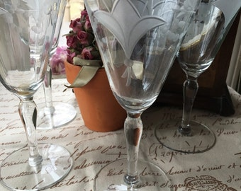 Set of 4 Fostoria Water Goblets clear Etched Stemware