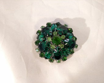 Shades of Green Rhinestones, Dome Brooch, Black Colored Metal, Unsigned