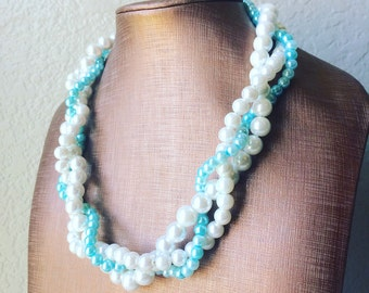Robin's Egg Blue & White braided pearl necklace