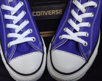 Converse Low or High Top custom edge detailing w/ Swarovski Crystal Touch of Glass Slippers on Chuck Taylor All Star Trainers Sneakers Shoes