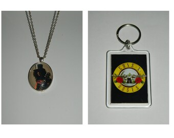 Guns and Roses Slash Glass Pendant Necklace and/ or Keychain