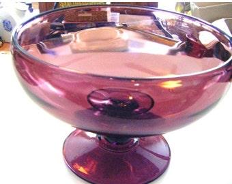 25% Off Storewide Sale Antique Amethyst Glass Bowl On Pedestal Art Glass