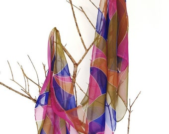 Silk scarf  handpainted sea of colors. Silk chiffon shawl. gift for her. 180x45cm.