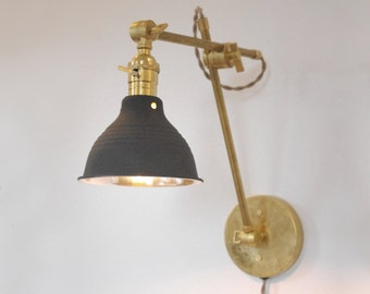Old Fashioned Wall Lamp Shades : Industrial Articulating Brass Wall Lamp with Black Shop Shade