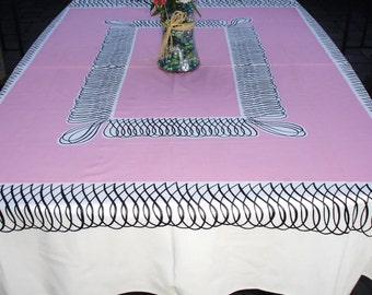 French Tablecloth, Pink White and Black, 1950s retro, Kitchen Tablecloth, Outdoor dining, Dining room linen, Parisian tablecloth,