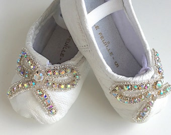 Baby Ballet Slippers - pearl white with trio pink blue purple vintage flowers - premie newborn toddler ballet slippers