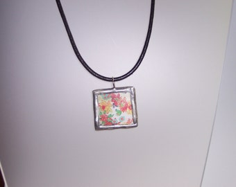 Flower Garden Pendant, Stained Glass Pendant, Epherema Pendant