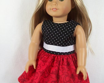 Black, White and Red Sleeveless Party Dress - 18 Inch Doll Clothes - Made to Fit 18 Inch Dolls Like American Girl Doll Clothes