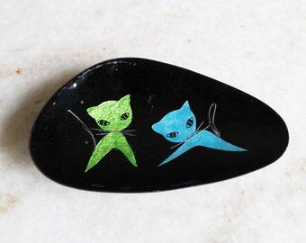 Atomic Kitty Cat Boomerang  Dish Black Austria Handcrafted LP Enamel