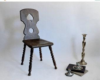 SHOP CLOSING SALE Antique Tyrolean Chair. Baroque Peasant Chair. Brettstuhl. Swiss Mountain Chair