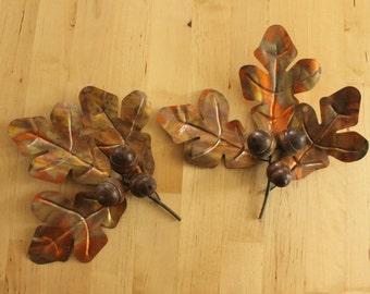 Set of 2 Golden Metal OAK Tree Leaves with wooden ACORNS-Wall Art, Oak leaves and acorns, vintage metal wall art