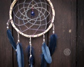 Dream Catcher - Diamond Eye - Boho Dreamcatcher with Transitional Blue Web and Deep Blue Feathers - Natural Mobile, Nursery Decor