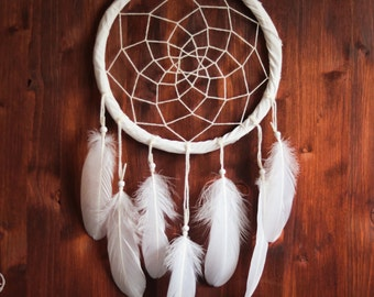 Dream Catcher - Pure Simplicity - With White Feathers, White Web and White Frame - Boho Home Decor