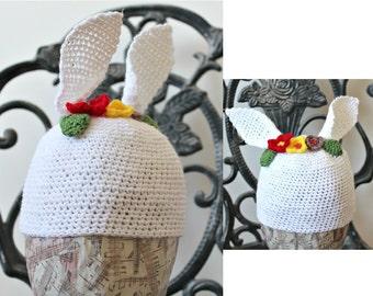 Bunny Beanie Crochet cap White hat Bunny ear hat Baby hat Photography prop Rabbit Hat Spring Baby Shower Gift Hypoallergenic hat Ireland