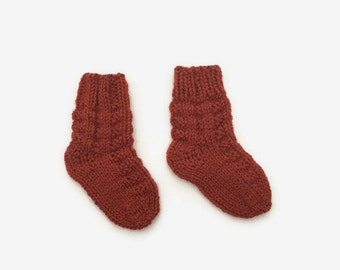 knitted baby socks - burnt orange baby socks - newborn socks