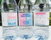 20 Personalized GENDER REVEAL Team Pink or Team Blue Waterproof Water Bottle Labels/Stickers for Baby Shower - Makes Great Party Favors!