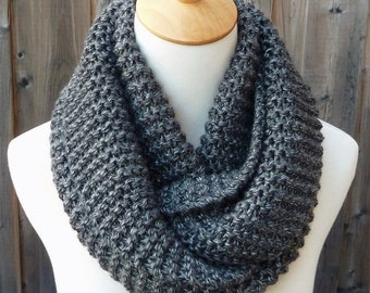 Charcoal Gray Infinity Scarf -Dark  Gray Infinity Scarf - Chunky Knit Scarf - Circle Scarf - Ready to Ship