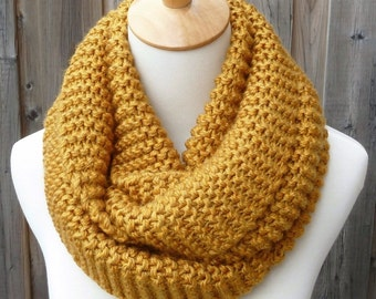 Mustard Yellow Infinity Scarf - Goldenrod Infinity Scarf - Dark Yellow Infinity Scarf - Chunky Knit Scarf - Circle Scarf - Ready to Ship