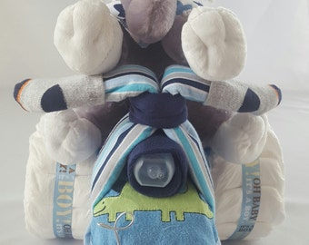 Baby Boy Tricycle Diaper Cake, Diaper Cake, Baby Shower with Personalized Name