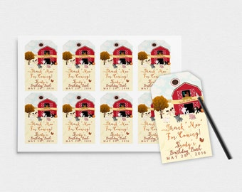 Printable Barnyard Favor Tags- Custom Printable-3.50 x 2 Inches-Farm Party-Barnyard Tags-Fall Tags