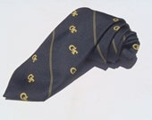 Vintage 1980s Georgia Tech Black and Gold Polyester Tie