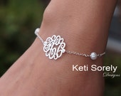 Monogram Bracelet or Anklet - Swirly Initials W/ Pearl Beads - Freshwater Pearls - Personalized - Sterling Silver, Yellow Gold, Rose Gold