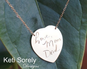 Engrave Your Handwriting On Heart Necklace.  Personalize Name or Small Message - Solid Gold, Sterling Silver, Yellow or Rose Gold