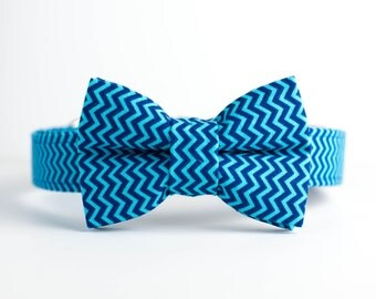 Spring Dog Collar with Bowtie - Navy & Turquoise Chevron