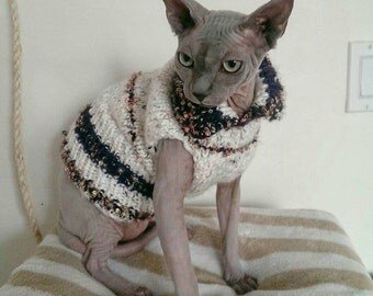 Sphynx Knitted Sweater - Festive Cat Sweater - Sphynx Clothing - Knitted Pet Sweater - Knitted Sphynx Clothes - Dog Sweater - Festive Pet
