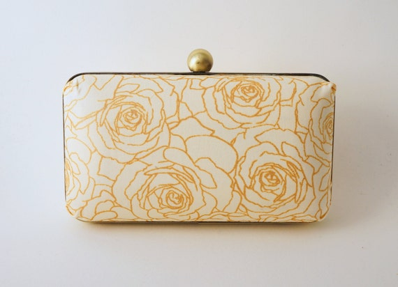Blush-Ivory & Gold Bridal Minaudiere Bridal Box Clutch- Evening/Bridesmaid/Prom - Includes Crossbody Chain - Made to Order